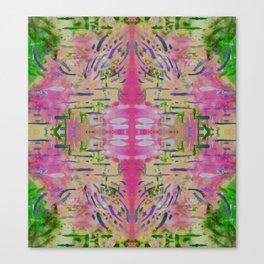 Joyful Pink Geometric Pattern Watercolor Tapestry Canvas Print