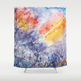 Sunrise in early spring abstract watercolor background Shower Curtain