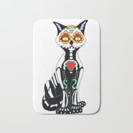 Sugar Skull Kitty Cat Bath Mat