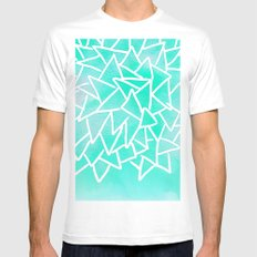 Blue turquoise watercolor geometric triangles MEDIUM Mens Fitted Tee White