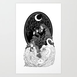 Aoife and the Children of Lír Art Print