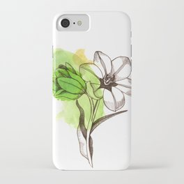 Green Watercolor Flower  iPhone Case