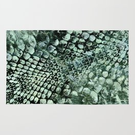 Faux pearly crocodile texture on green marble Rug
