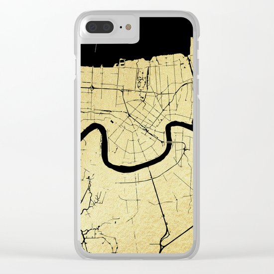 New Orleans Black and Gold Map Clear iPhone Case