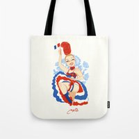 france Tote Bags featuring France by Melissa Ballesteros Parada