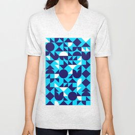 geometric blue Unisex V-Neck