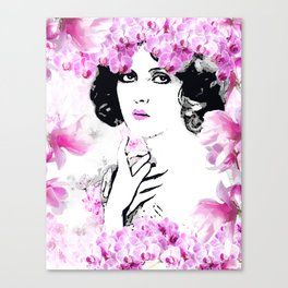 CLARA WOMAN PINK ORCHIDS AND MAGNOLIAS Canvas Print