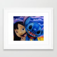 lilo and stitch Framed Art Prints featuring Lilo and Stitch by Iwilldrawyourface