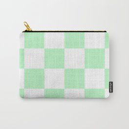 Large Checkered - White and Mint Green Carry-All Pouch