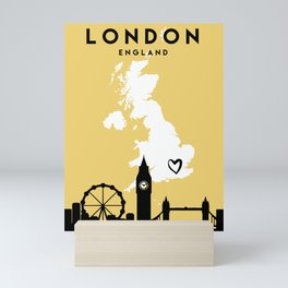 LONDON ENGLAND LOVE CITY SILHOUETTE SKYLINE ART Mini Art Print