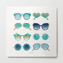 Sunglasses Collection – Turquoise & Navy Palette Metal Print