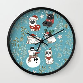 Christmas French Bulldog Wall Clock
