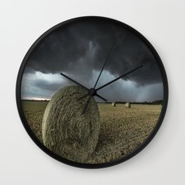 Fade Away - Round Hay Bales in Storm in Oklahoma Wall Clock