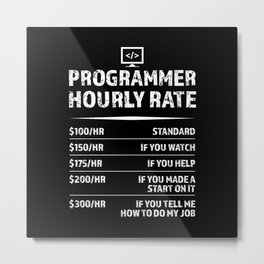 Programmer Hourly Rate Funny Coding Gift Metal Print
