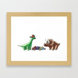 Never give a cap to a triceratop! Framed Art Print