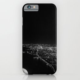 Chicago Skyline. Airplane. View From Plane. Chicago Nighttime. City Skyline. Jodilynpaintings iPhone Case