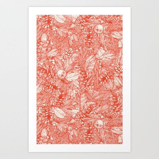 Forest Floor Fire Orange Ivory Art Print By Sharon Turner
