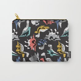 Geometric Dinos // non directional design black background multicoloured dinosaurs shadows Carry-All Pouch