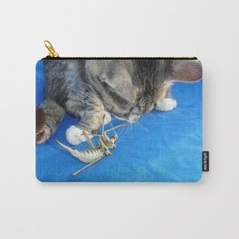Young Male Tabby Cat Playing With It's Prey Carry-All Pouch