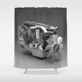 3D Engine Model Shower Curtain