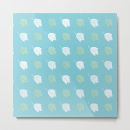 Silver Poplar Leaves Pattern Metal Print