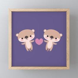 Kawaii otters Framed Mini Art Print