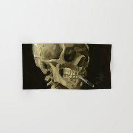 Skeleton with Burning Cigarette Hand & Bath Towel