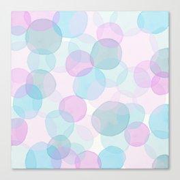 Watercolor circles pink and blue Canvas Print