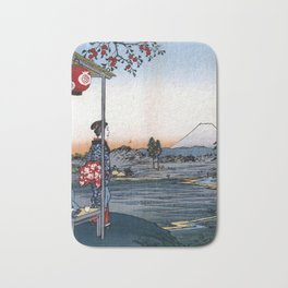 Utagawa Hiroshige The Teahouse with the View of Mt. Fuji Bath Mat