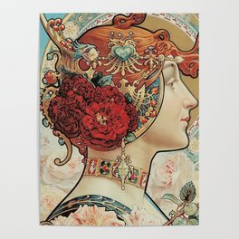 Lady With Flowers - Alphonse Mucha Poster