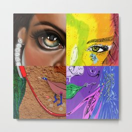 """Pon de Replay - FACES"" by Steven Fiche, Cap Blackard, Kristin Frenzel, Jacob Liengood Metal Print"