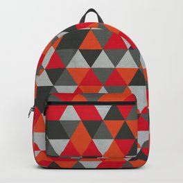 Hot Red and Grey / Gray -  Geometric Triangle Pattern Backpack