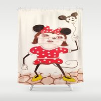 minnie Shower Curtains featuring Minnie  by ZarsStudio