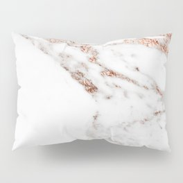 Rose gold foil marble Pillow Sham