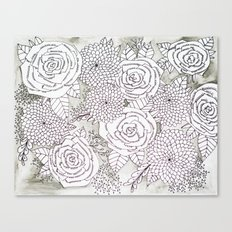 Floral Doodles in Gray Canvas Print