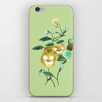 decal iPhone & iPod Skins featuring Pansy Decal Green & Gold by ThistleandFox