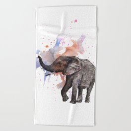 Dancing Elephant Painting Beach Towel