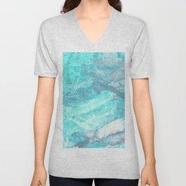 Marble Turquoise Blue Agate Unisex V-Neck