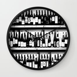 Wine Bottles in Black And White #decor #society6 #buyart Wall Clock