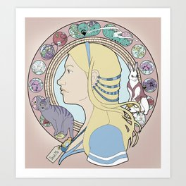 Alice in Wonderland Art Nouveau  Art Print