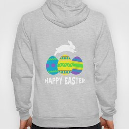 Happy Easter Bunny Jumping And Colorful Easter Eggs Hoody