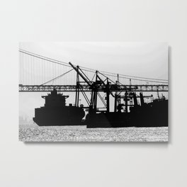 Metallic Architectures Docked Cargo Ships Metal Print