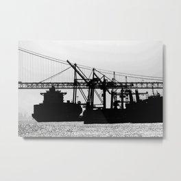 Metallic Architectures Docked Cargo Ships Metal Print