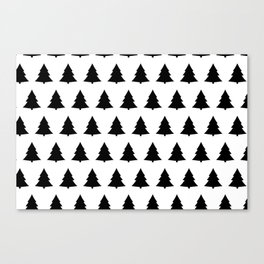 Chistmas Tree Black and White Seamless Pattern Canvas Print