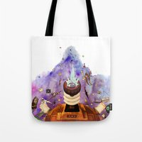 doctor who Tote Bags featuring Doctor Who by Anthony Wallace