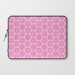 Love is everywhere at the Valentine's Day - Futuristic Heartbeat Hexagonal Tile Pattern & Pink Hearts 7  Laptop Sleeve
