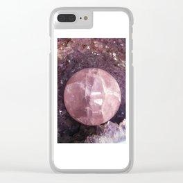Amethyst and Pink Quartz Gemstone Clear iPhone Case