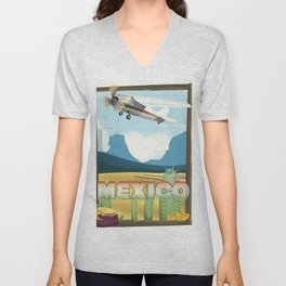 Mexico Desert vintage style travel Unisex V-Neck