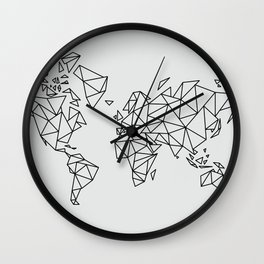 Geometric Low Poly Map of The World / Polygon geometry Wall Clock