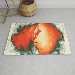 Occupy Mars a Red Sci fy Landscape Rug